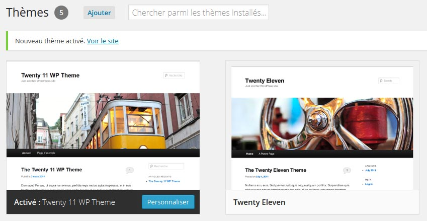 Activer votre thème WordPress