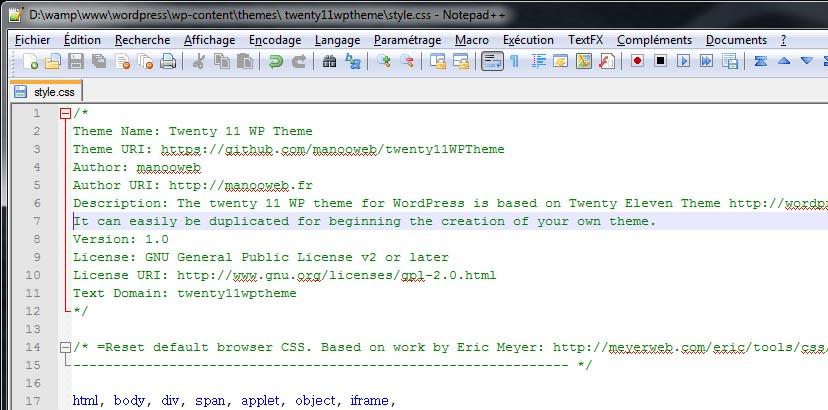 Nommer thème WordPress dans le fichier style.css