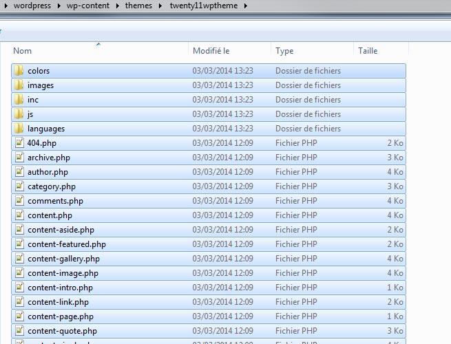 Recopier fichiers Twenty Eleven dans dossier de votre thème