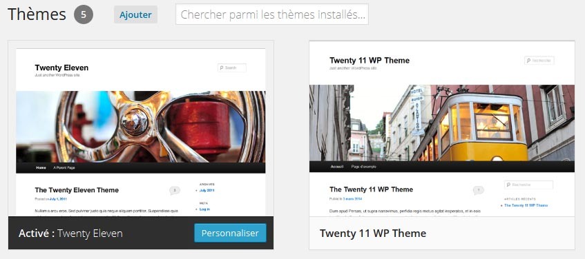 Vérifier personnalisation du nouveau thème Twenty 11 WP theme
