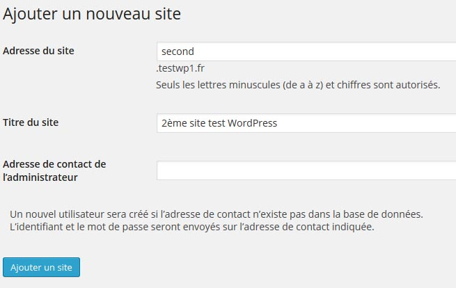 Ajouter site WordPress multisite