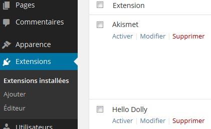 Désactivez les extensions WordPress