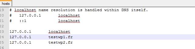 définir les noms de domaine dans le fichier hosts