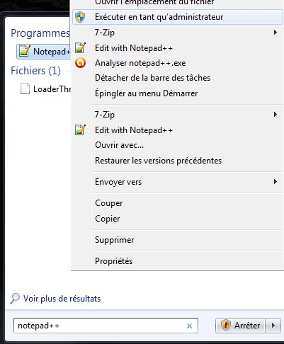 Exécuter notepad++ en tant qu'administrateur