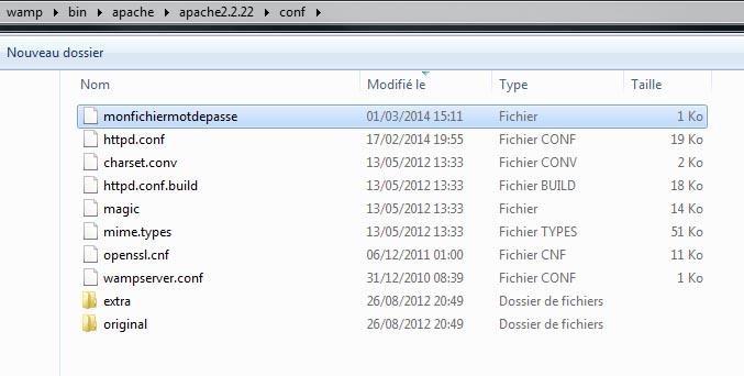 Copier fichier mot de passe dans conf Apache