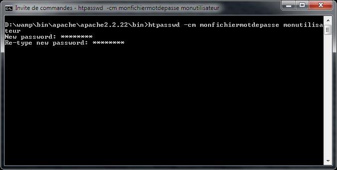 Créer fichier mot de passe apache